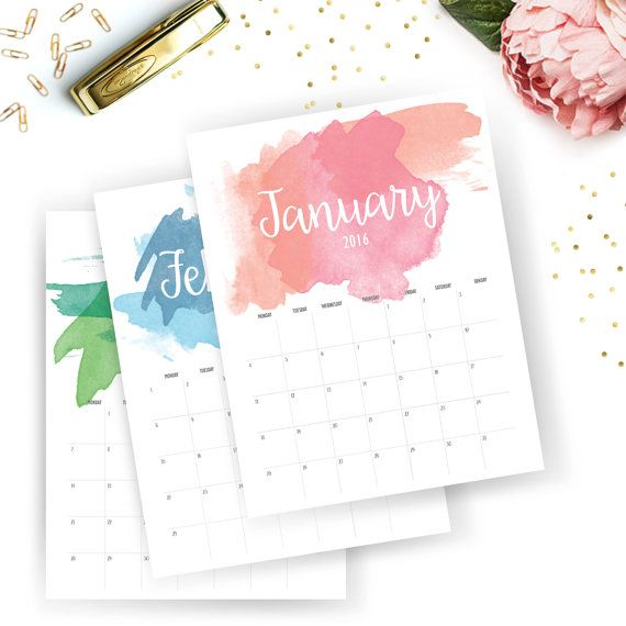 Printable 2016 Monthly Calendar - Printable Calendar - Watercolor Planner - Watercolor Printable - Instant Download - Print at home