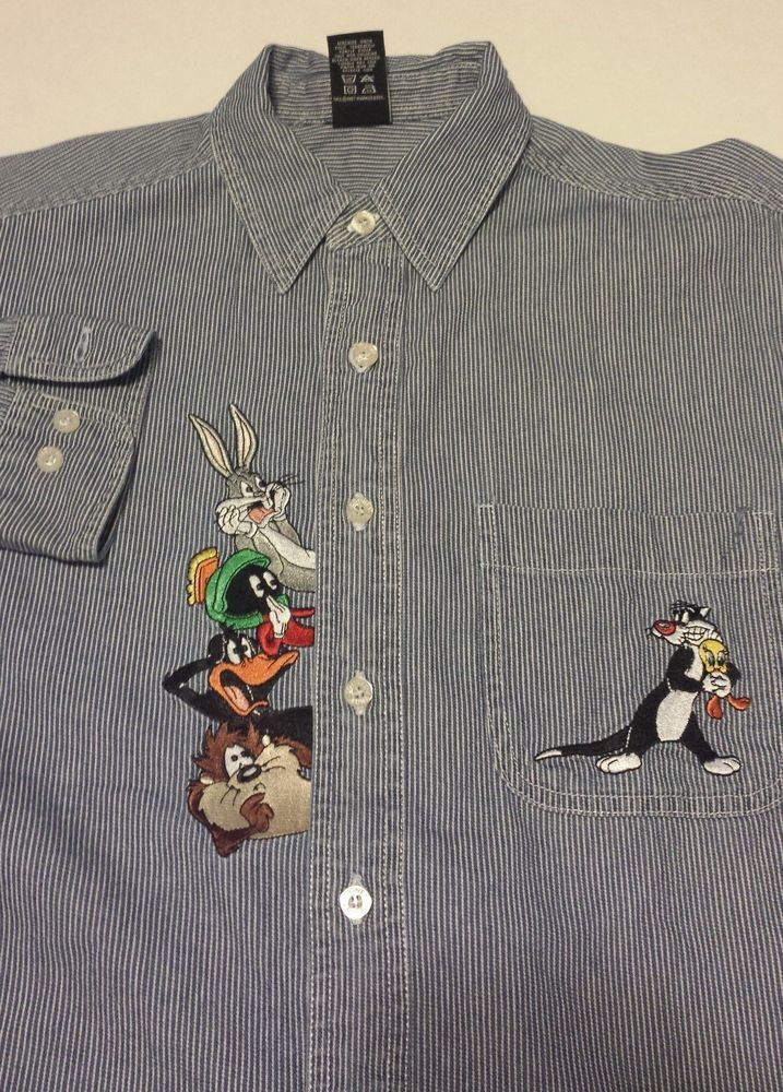 AWESOME WARNER BROS LOONEY TUNES TAZ BUGS BUNNY TWEETY DENIM L/S SHIRT SMALL #WarnerBros #ButtonFront