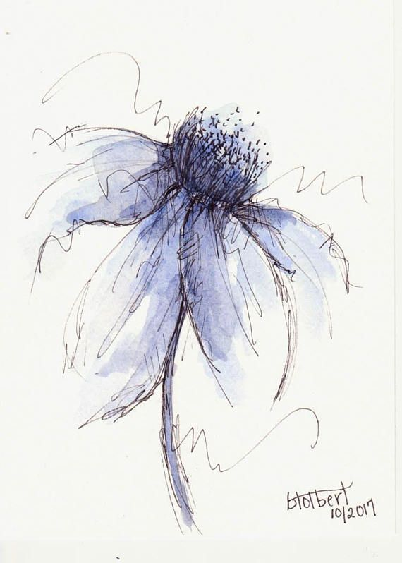 Unique Watercolor Cone Flower Artwork Portray Blue Pen and Ink Watercolor Hand Painted Flower