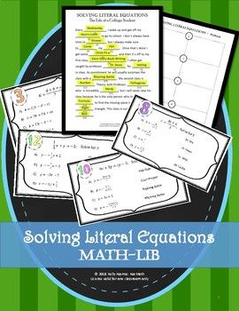 Linear And Literal Equations Mathlib Math Activities Pinterest