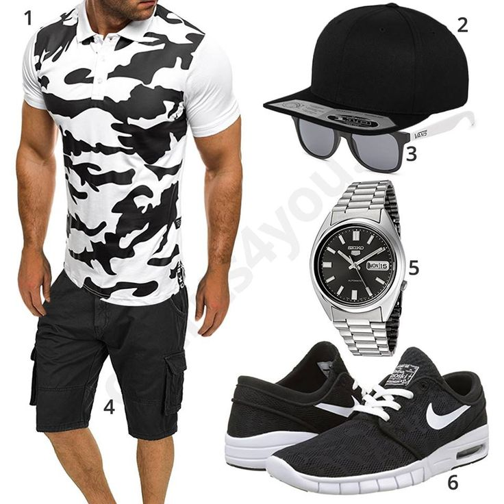 schwarz wei es herren outfit mit army shirt m0453 herren outfits m nnermode und schwarz wei. Black Bedroom Furniture Sets. Home Design Ideas