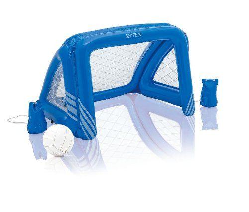 Lieferumfang: Dieses Fußball- und Wasserball-Set besteht aus einem aufblasbaren Tor, einem aufblasbaren Ball, Anker-Beuteln und einer Reparaturfolie. Das Tor misst 140x89x81cm. Ideal für Pool, Planschbecken oder Wiese.