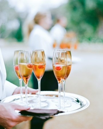 Flutes of Veuve Clicquot with raspberries or lavender were served at this real wedding.: Cocktails Hour, Bride Grooms, Tv Trays, Real Weddings, Flute, Silver Trays, Outdoor Weddings, Champagne Cocktails, Weddings Color