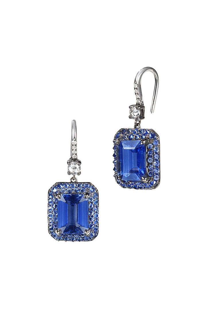 18K Gold Kyanite, Sapphire & Diamond Earrings
