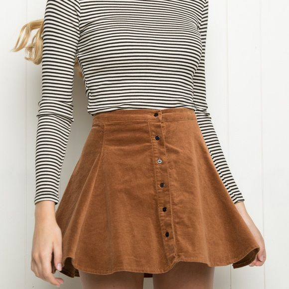 Brandy Melville Brya skirt Suede button front skater type skirt. One size! Brandy Melville Skirts Circle & Skater