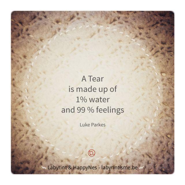 #labyrintisme En die gevoelens... die komen jou iets vertellen... Ze nodigen je uit om ze te omarmen, jezelf te omarmen. Neem je tijd om ze te onderzoeken. Ze komen je vertellen wat je nodig hebt of waar je van vervuld bent. Voel wat de tranen met je doen... tranen van verdriet, onmacht of net van vreugde... Ze hebben mij al vaak de weg gewezen... wegwijzertjes op het levenspad... welkom in het labyrint. *yeha noha* Vanessa