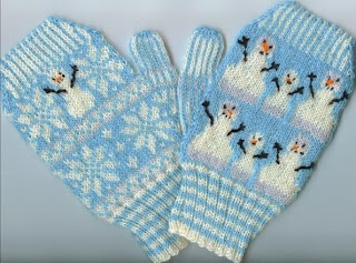 Snowman Mitts Free Knitting Pattern by Kathleen Dakota-Dreams