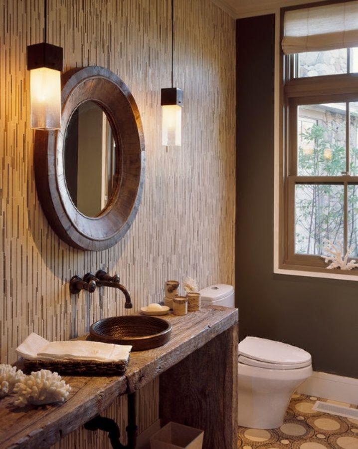 iluminação banheiro rústico