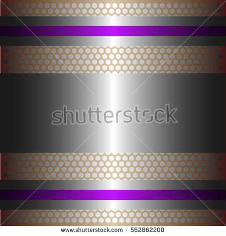 Shiny silver metal with silver background.Two glossy purple lines.Gold plate with hexagon holes style design .