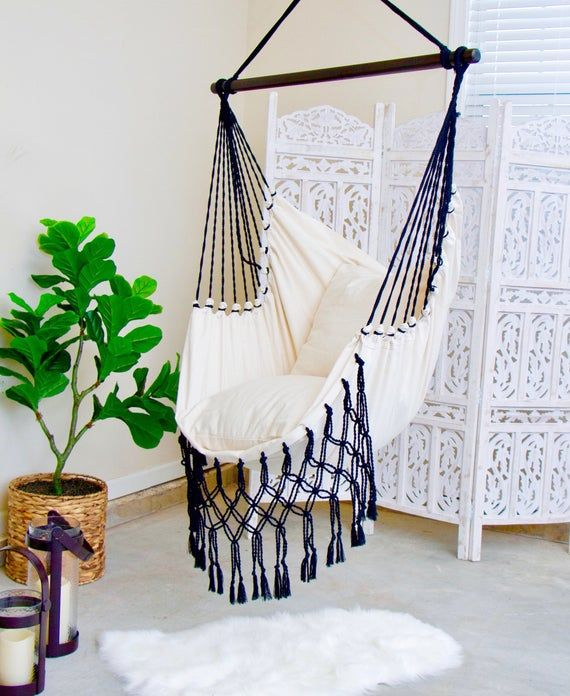 Macrame Hammock Swing Chair Hanging Chair Hammock Swing Etsy Diy Hammock Chair Swinging Chair Hammock Swing Chair