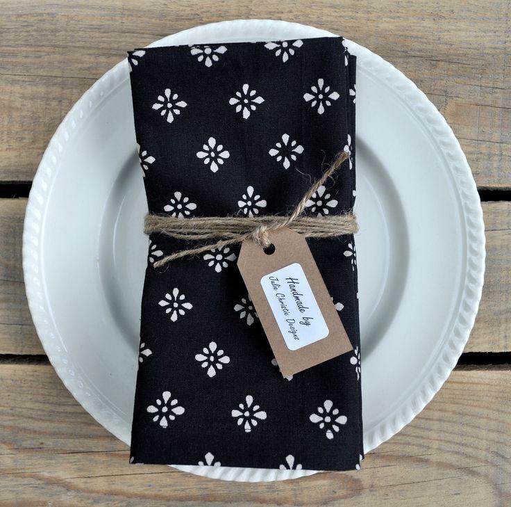Black Batik Print Linen Cotton Cloth Reusable Napkins. Set of 4. Visit my Etsy store for sales www.etsy.com/shop/juliechristiedesigns
