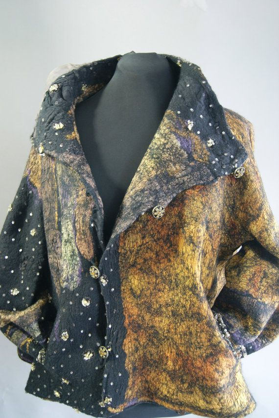 by Sugar Plum Originals, Nuno Felted Reversible Swing Jacket Size M.