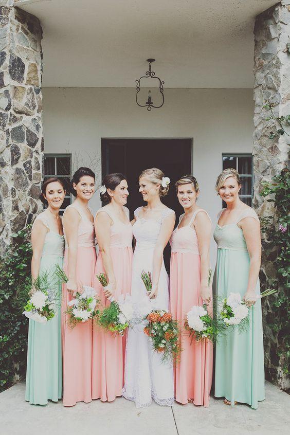 peach mint bridesmaid dresses  / http://www.himisspuff.com/peach-mint-wedding-color-ideas/