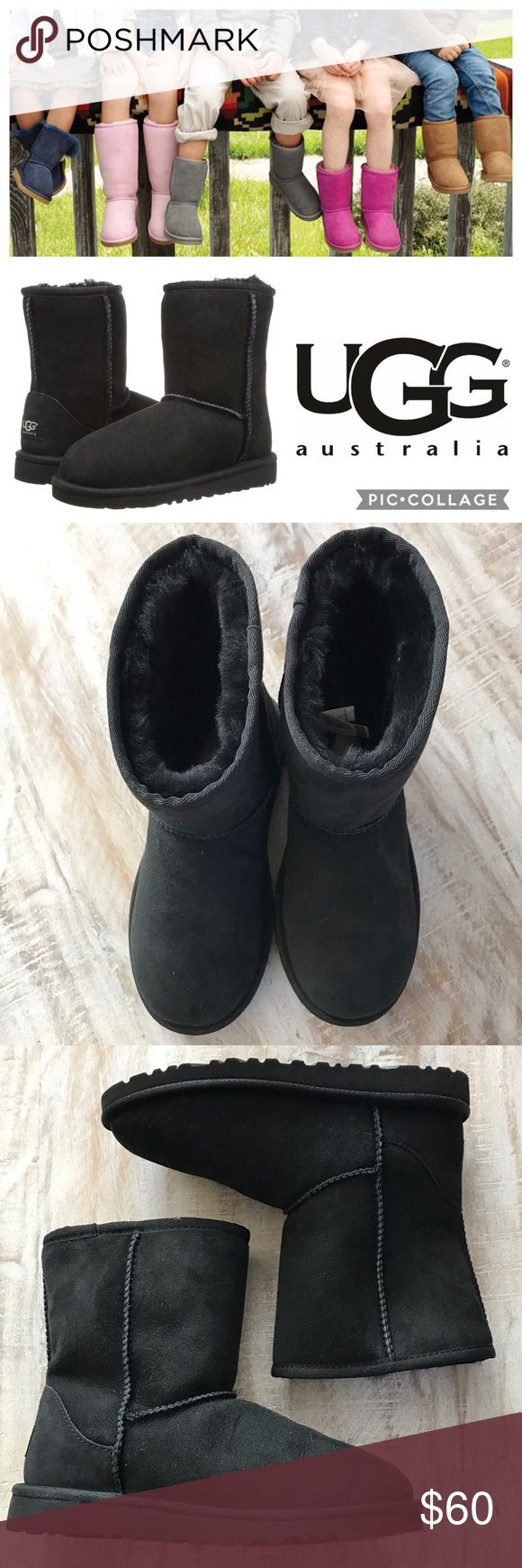 ❄️KIDS!! UGG Classic Short Boot/Black/sz 4 Keep your child's feet warm this season with these Classic Short Boots from UGG, An adorable short boot is designed especially for a child's foot. The soft, cozy lining is made from genuine shearling or plush UGGpure™, a textile made entirely from wool but shaped to feel and wear like genuine shearling.  Twinface sheepskin upper/genuine shearling or 100% wool lining/EVA sole Dept store closeout/customer return. Prob worn once, but look brand new…
