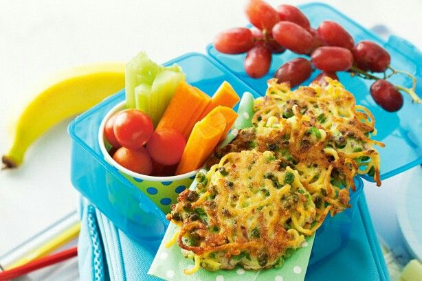 Pea and Noodle Fritters recipe: http://www.taste.com.au/recipes/36783/pea+and+noodle+fritters?ref=collections,healthy-snack-recipes