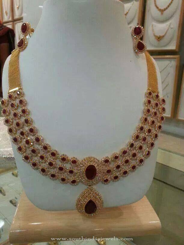Gold CZ Stone Jewellery Designs, Gold CZ Stone Necklace Models, Gold CZ Stone Ruby Necklace Designs.