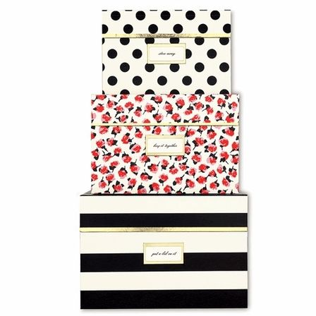Kate Spade Storage Boxes - Black Stripe - easy DIY