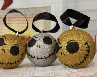 "Nightmare before Christmas tree ornaments, hand painted ornament, Christmas ornament, Jack Skellington decoration 4"" bulbs, set of 3 jack"