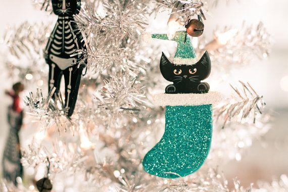 Stocking Christmas Cat Clay Folk Art Ornament by KilkennycatArt, $12.00