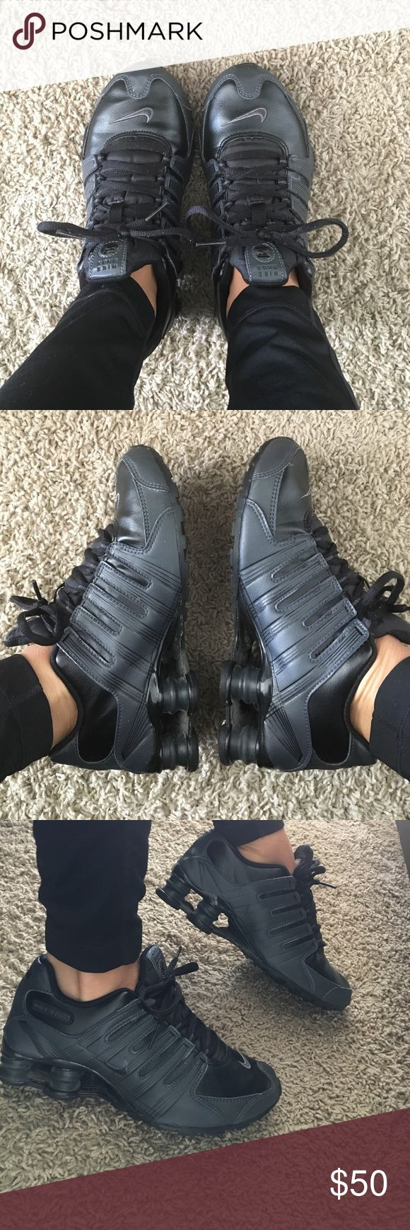 Nike Shox Barely worn black Nike shox. Great condition. Leather, durable. 4.5 youth fits a 6-6.5 in women's 😉 Nike Shoes Sneakers