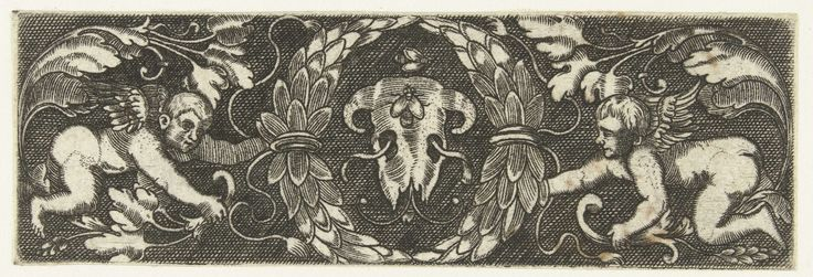 Anonymous | Fries met de schedel van een dier, Anonymous, c. 1500 - c. 1600 | Twee putti houden een lauwerkrans rond de schedel vast.