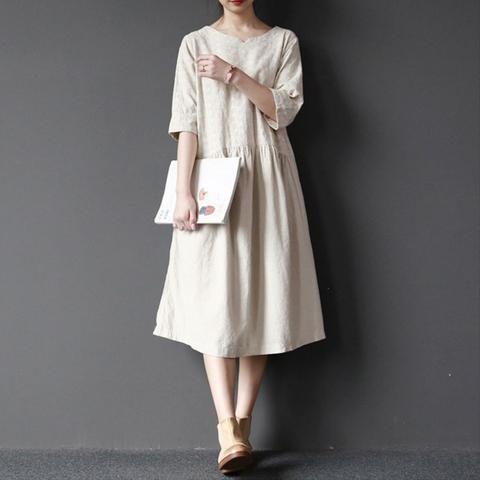 Women  cotton linen embroider loose dress