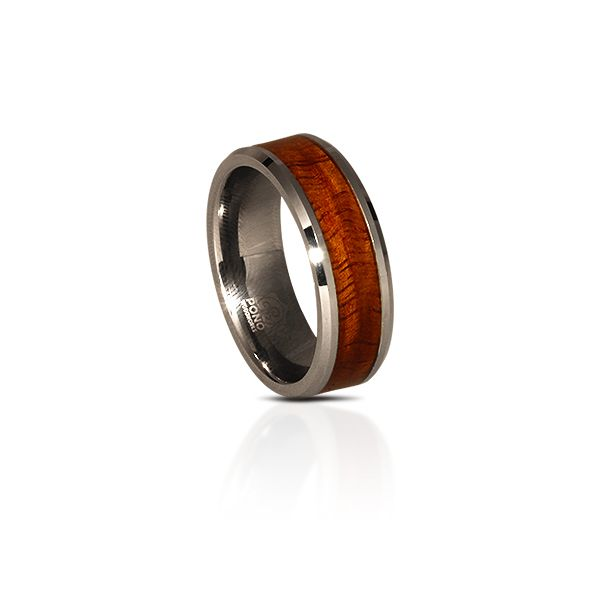 The original…we started the whole trend with this design.  Big Island curly Koa in a tungsten ring.