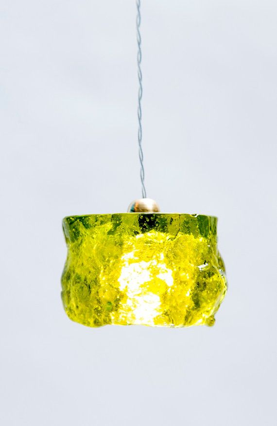 Lime Ceiling Pendant Light Barrel / HandMade By AyaandJohnLighting