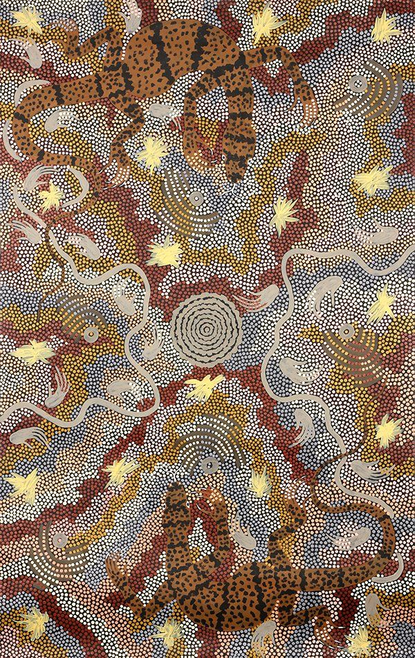 """Clifford Possum Tjapaltjarri (Aborigine, 1932-2002), """"Two Goannas,"""" 1991."""