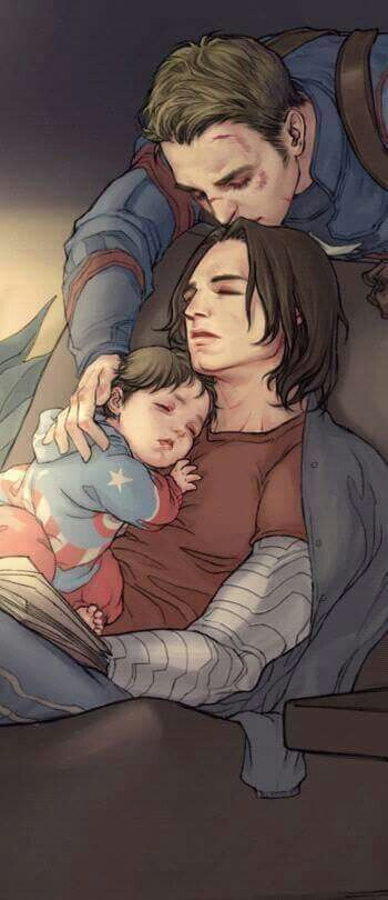 Bucky waiting with his son for daddy to get home and falling asleep.                                                    (aka steve)