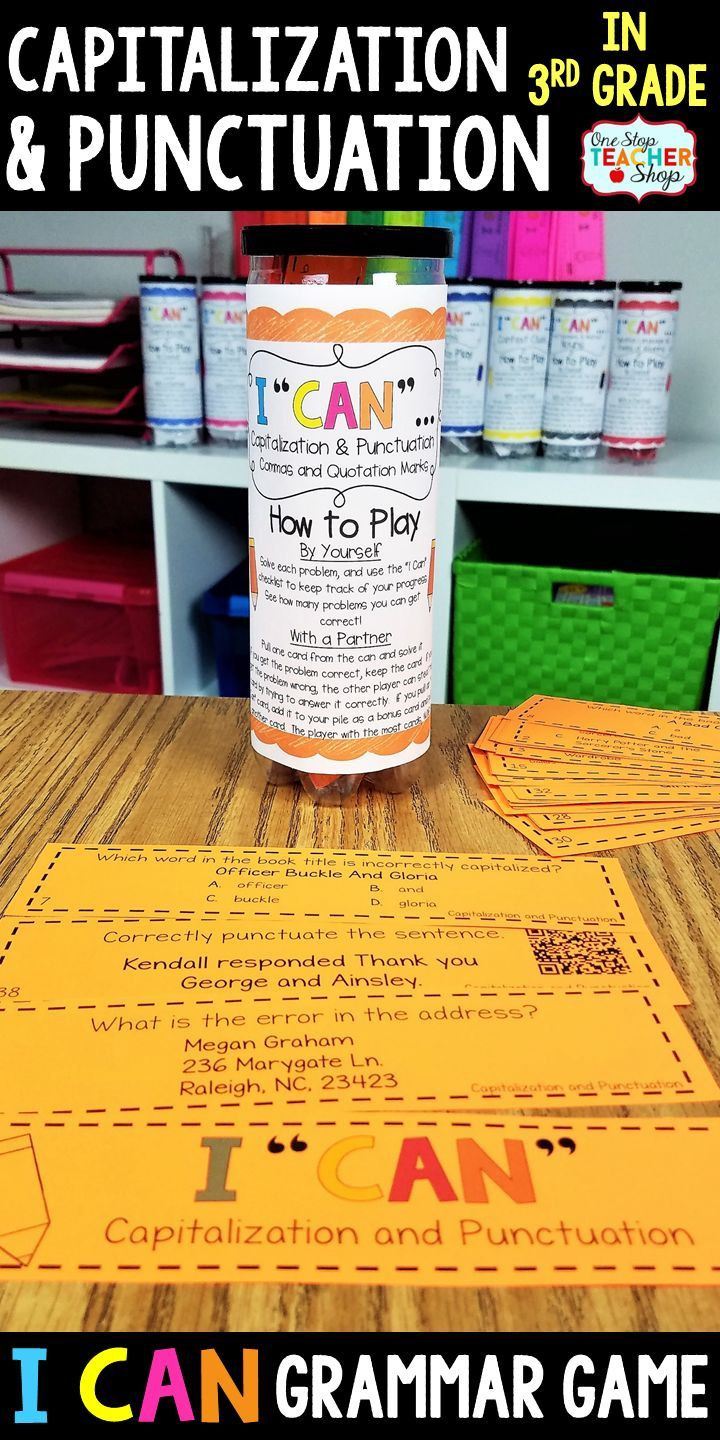 3rd Grade I Can Grammar Game Capitalization And Punctuation With Commas And Quotation Marks 3rd Grade Gramm Grammar Games Punctuation One Stop Teacher Shop [ 1440 x 720 Pixel ]