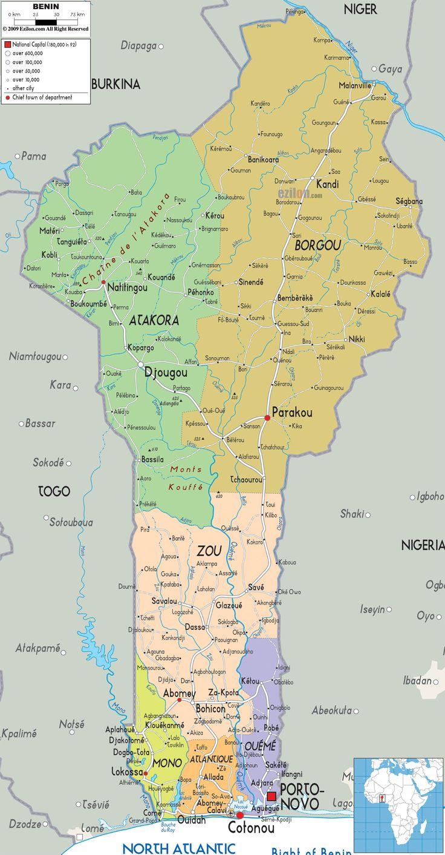 Detailed large political map of Benin showing