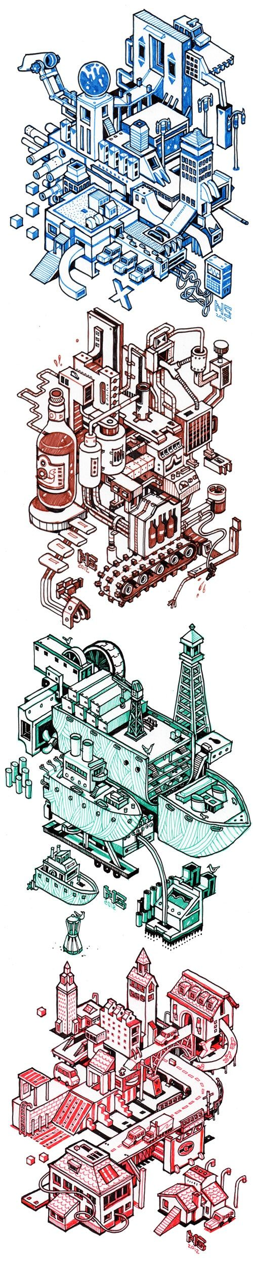 different color isometric drawings by http://nigelsussman.com