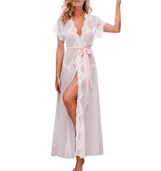 Lange Kleid Nachtkleid für Damen, ZEZKT Große Größen lencería pijama transp…