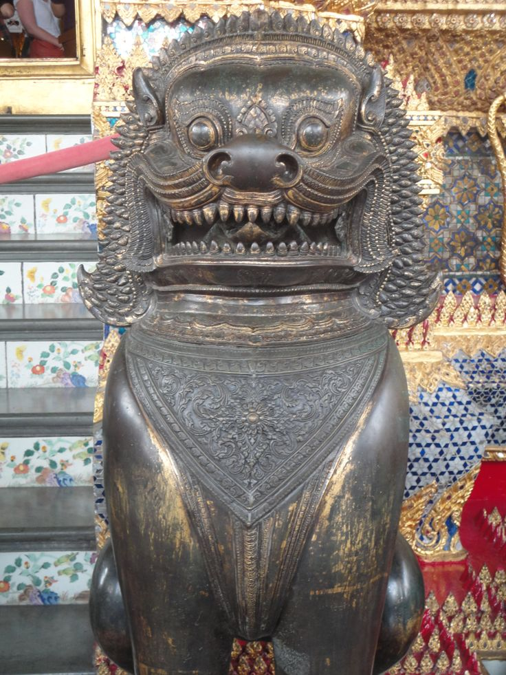 War bounty Cambodian Bronze Lion guardian statue, Grand Palace, Bangkok, Thailand. Photo: Pat Hinsley