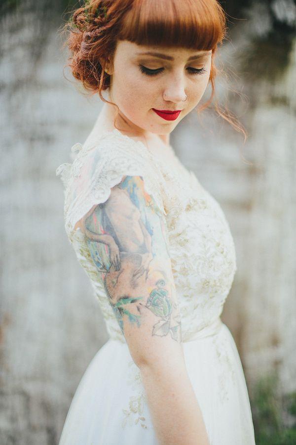 tattooed bride - photo by Shane Shepherd http://ruffledblog.com/australian-wedding-for-a-couple-who-met-on-instagram