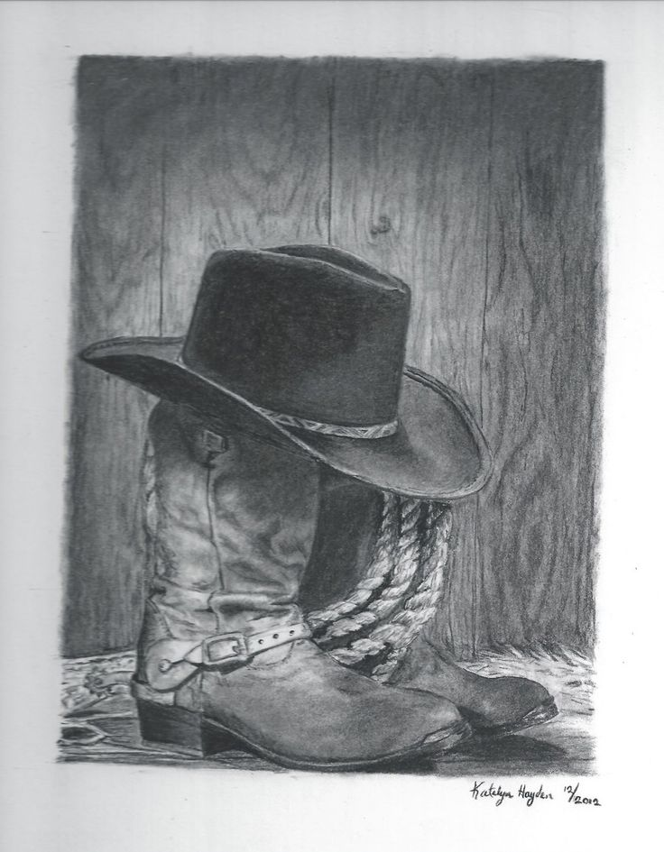Free Cowboy Pencil Art | cowboy boots and hat by sunbird18 traditional art drawings still life ...