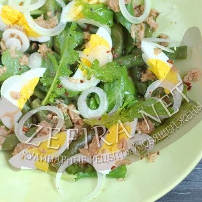 Салат из консервированного тунца с яйцом и стручковой фасолью — Кулинарные рецепты любящей жены