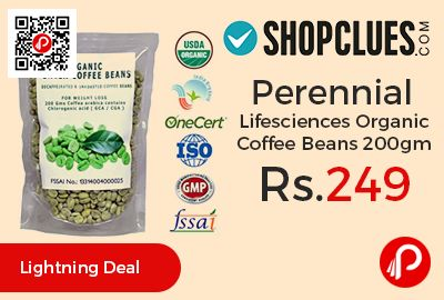 Shopclues #DealofTheDay is offering 17% off on Perennial Lifesciences Organic Green Coffee Beans 200gm at Rs.249 Only. The most innovative method of reducing body fat by means of the organic green coffee bean is already the world N1 alternative to diets and exercise.   http://www.paisebachaoindia.com/perennial-lifesciences-organic-coffee-beans-200gm-at-rs-249-only-shopclues/
