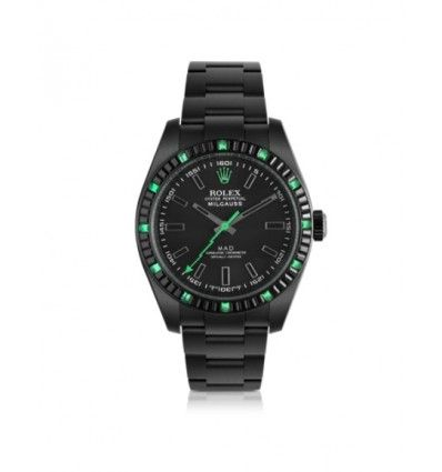 MAD Customized Watches Customized Rolex Milgauss Emerald Baguette Men's Watch