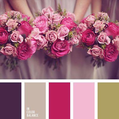 gama de colores para damas de honor, paleta de colores para decorar una boda, paleta de colores para una boda, rosado grisáceo, rosado y verde, tonos pastel de color rosa.