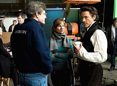 "Susan and Robert Downey Jr. on the set of ""Sherlock Holmes,"" 2009."
