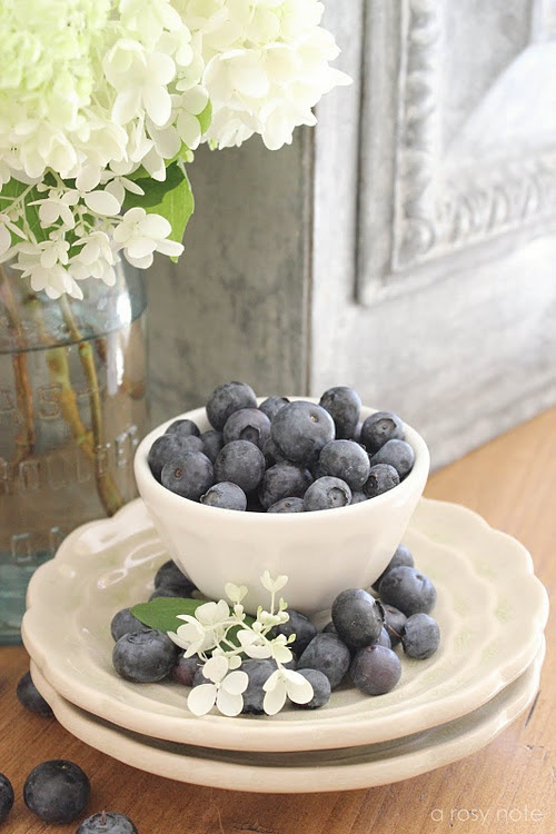 blueberries and hydrangeas love it!: Dining Rooms, Blueberry Cottage, Blue Berries, Blueberry Lane, Fruits, Food Photography, Blueberries