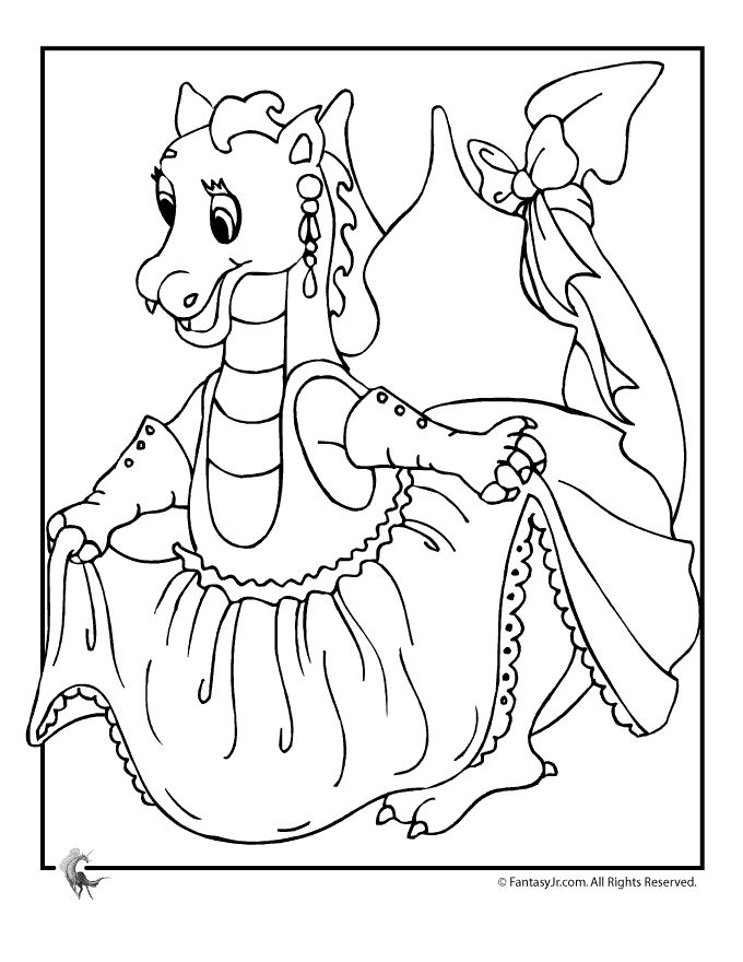 Cartoon Princess Dragon Coloring Page Coloring Pages