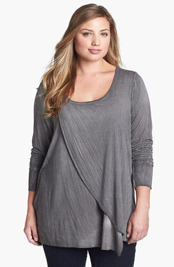 Pink Lotus Cross Front Jersey Tunic (Plus Size) | Nordstrom