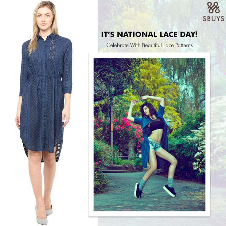 Everyone its time to celebrate National Lace Day so Try out Vrushika Mehta Sbuys Schiffli High-Low Shirt Dress and feel like a celeb @ www.sbuys.in #sbuys #contemporaryfashion #womenswear #stylediva #sbuysclothing #fashionistas #newcollection #latesttrends