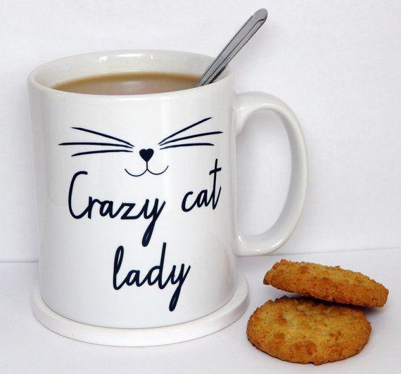 Crazy Cat Lady Mug, tasse de chaton, Cat visage, déclaration Mug, citation inspirante, tasse à café, Mug heureux, UK