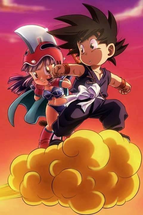 Otra imagen que me obliga a sonreir...Son Goku da una suave patada en la entrepierna de Chichí y dice, todo orgulloso y convencido:-Eres una chica,¿eh?.Piensa Chichí, ruborizándose: -Como me ha tocado ahí, ¿estaré obligada a casarme con Él?...¡¡eh, no, no, me da mucha vergüenza!!.-Dice Son Goku:-¿Decías algo?.-Responde Chichí,ruborizándose:-Nada, cariño.-Dice Son Goku, confuso:-¿Cariño?-Responde Chichí, ruborizándose y tirándolo de la nube de un empujón:-¡Oh, no, que me da mucha vergüenza!.