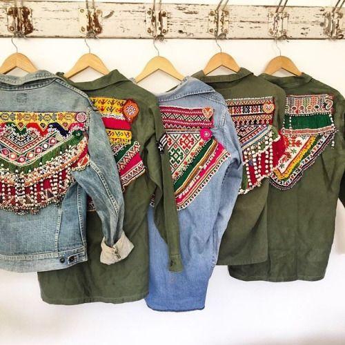 Camperas de jean con bordados étnicos ☮