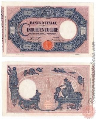Cartamoneta Italiana .com - Museo Virtuale - : Banca d'Italia – Regno d'Italia - Foto: 500 LIRE - Barbetti - con matrice (decreto) - N 22